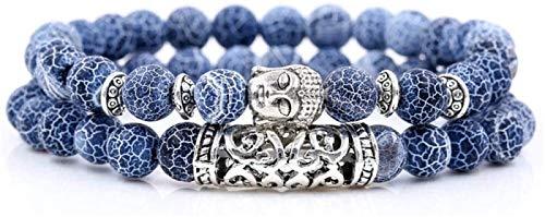 KEEBON Pulsera de Piedra Mujer, 2 unids/Set 7 Chakra 8mm Azul Natural Perlas semipreciosas Brazalete elástico Buddha joyería Reza Yoga energía Equilibrio Reiki Encanto Regalo para Hombres
