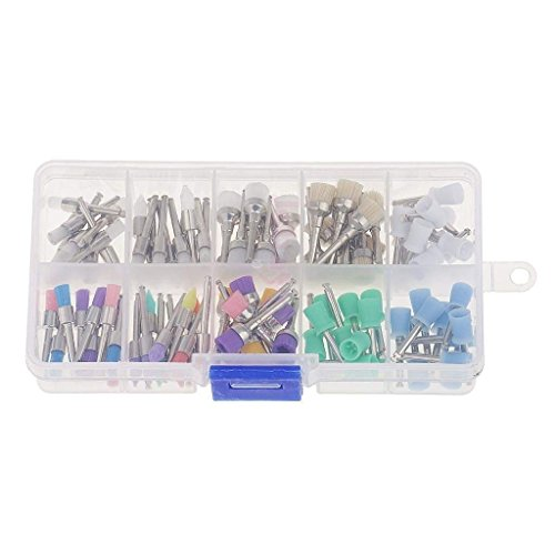 100pcs/bag Polishing Brush Polisher Prophy Rubber Cup Latch Colorful Nylon Bristles Mix Style Dental Tool Lab Material