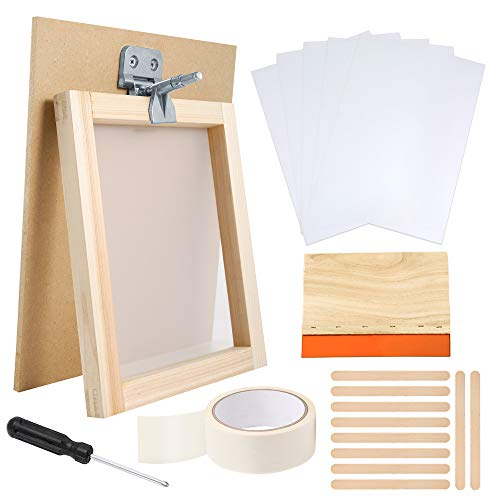 PP OPOUNT 27 Pieces Screen Printing Starter Kit Including Wood Silk Screen Printing Frames, Screen Printing Squeegee, Screen Frame Butterfly Hinge Clamp and Tools for Screen Printing