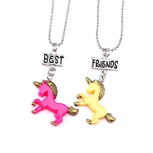 Mejores amigas collares para niñas / niños 2 Colgante unicornio Collares de plata Juego Arco...