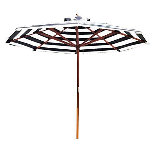 Sombrilla al Aire Libre 2.7m Sombrilla Plegable para Patio Sombrillas de Madera de jardín a Rayas Grandes Sombrillas, sombrillas comerciales a Prueba de Agua y protección UV
