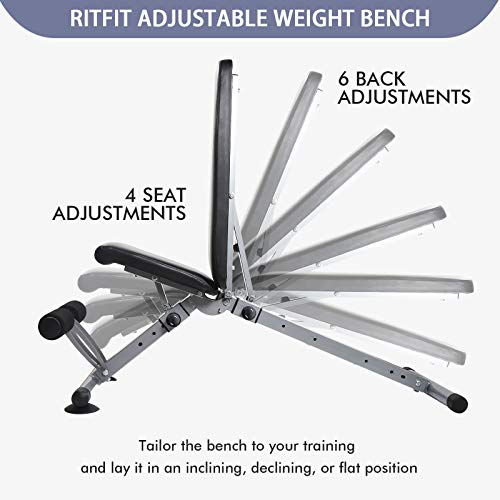 Adjustable Workout Bench with 6 Free Puzzle Mats, Flat/Incline/Decline Weight Bench for Home Gym, Fast-Folding Bench for Strength Training - [Bonus] 1 Workout Poster with 35 Full-Body Exercises