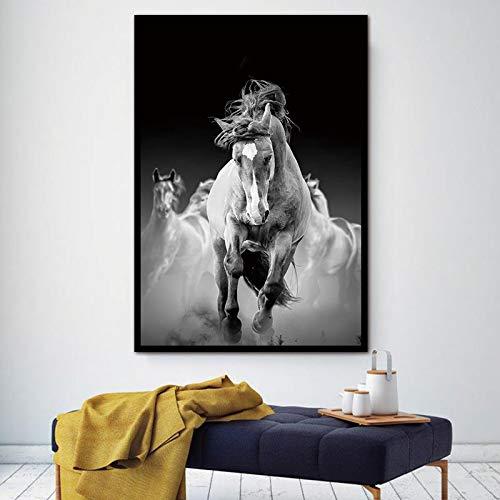 YuanMinglu Pferd läuft im Wasser Tiermalerei Hinter Wandkunst -Wohnzimmer Wohnung Deko- Kunstdruck modern Wandbilder Rahmenlose Malerei60x90cm