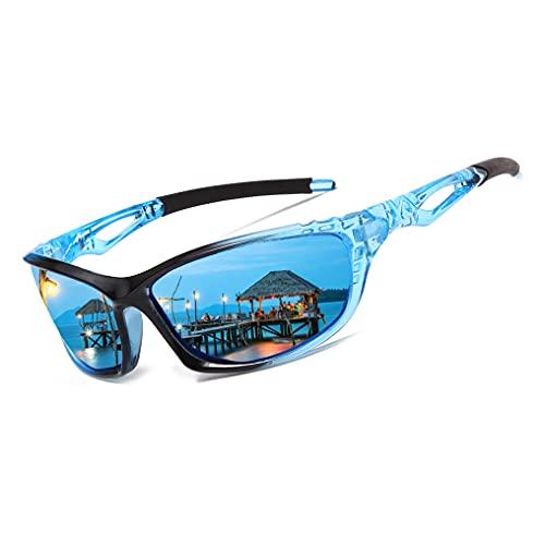 Long Keeper Occhiali da Sole Sportivi polarizzati per Uomo Donna Protezione UV400 Occhiali Sportivi Per Running Montagna Pesca Bici Tennis Montatura Leggera (Nero Blu)