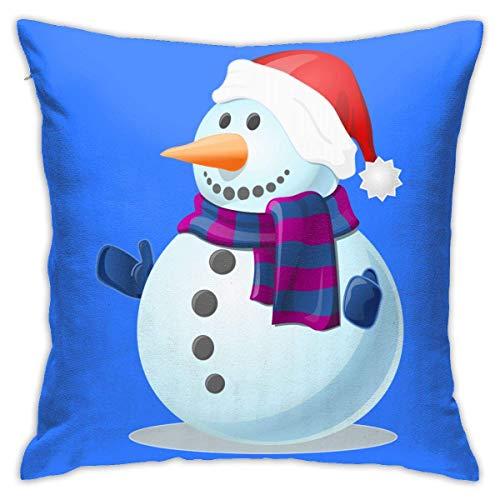 Fundas de Almohada, Fundas para Cojines de Lino Funda de Almohada Muñeco de Nieve con Sombrero y Bufanda de Navidad Funda Cojin Decorativa de Casa para sofá Dormitorio Coche,45x45CM