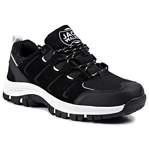 Zapatillas de Senderismo Trail Running para Hombre ultraligeras con ventilación de Baja Altura (45 EU, Blanco)