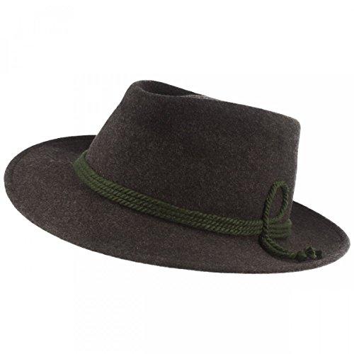 Herren Trachten-Hut | Filz-Hut | Herren-Hut – Tiefenbacher - Aus 100% Wolle mit grüner Kordel-Garnitur – Bogart – Wasserabweisend – Made IN Germany