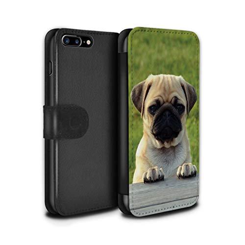 Stuff4 PU Pelle Custodia/Cover/Caso/Portafoglio per Apple iPhone 7 Plus/Pug/Carlino Adorabile/Razze Cani/Canine Popolari Disegno