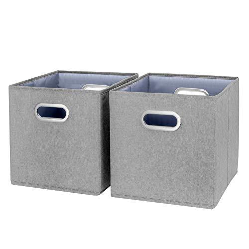 TYEERS Lot de 2 Boîte de Rangement Lavable Pliable Cube de Rangement en Tissu Ouvert avec Poignée pour Armoire Bibliothèque Etagères Placard Bureau Livres Vêtement Jouets Lego CD Peluche Etc - Gris