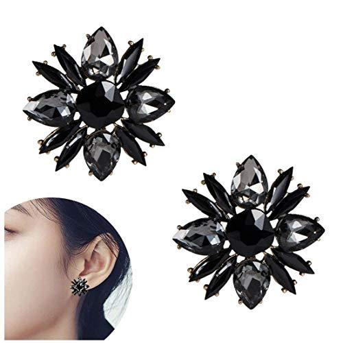 1Pair Women's Crystal Flower Stud Earrings Wedding Bridal Chandelier Earrings Bling Clip-on Earring Stud Fine Jewelry Valentines Day Gifts for Her(Black) Costume Jewelry