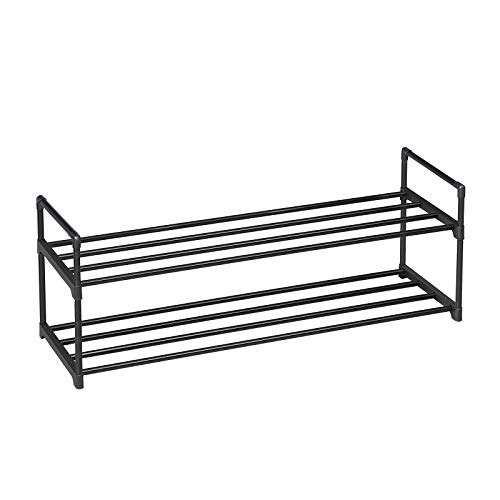 SONGMICS 2-Tier Shoe Rack, Metal Storage Shelves Hold up to 10 Pairs of Shoes, for Living Room, Entryway, Hallway and Cloakroom, 92 x 30 x 33 cm, Black LSA12BK