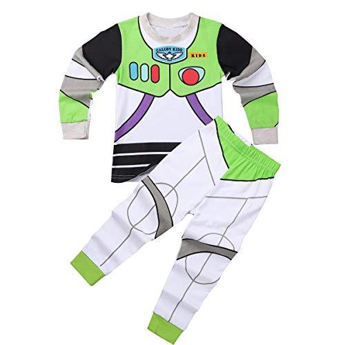 MSemis Unisex Pijamas Disfraz de Cowboy Astronauta para Niños Niñas Camisa + Pantalones Ropa de Dormir 2Pcs Otoño Invierno Regalo Cumpleaños Verde y Blanco 2-3 Años