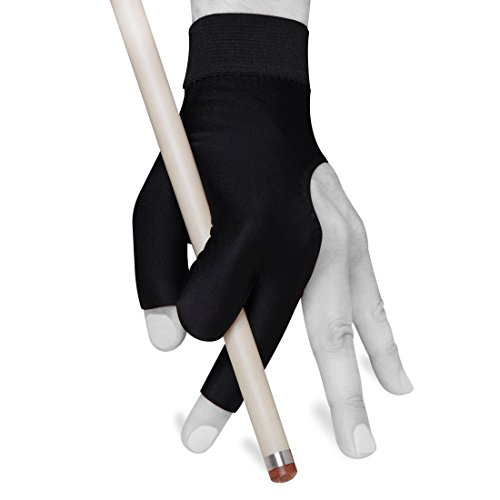 Billiard Glove by Fortuna - Pro - Fits Either Hand - Black - Open Fingers (Medium/Large)