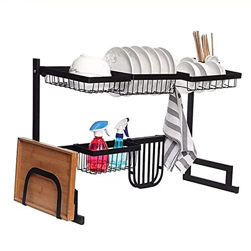 Cutlery Racks Tier 65/85Cm Stainless Steel Kitchen Shelf Organizer Dishes Drying Rack Over Sink Drain Rack Kitchen Storage Utensils Holder (Size : 65Cm)