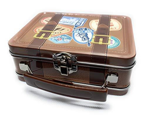 Perfekto24 Koffer Blechdose mit Deckel & Henkel, Metall Dose 14 x 10,5 x 5,3 cm groß, eckig, leer, rechteckige Aufbewahrungsbox, Vorratsdose universell einsetzbar, Dose im Koffer Design
