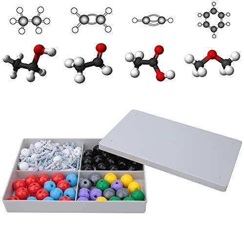 Kit de modelo molecular de química, 140 piezas Modelo de química molecular Kit de modelo de enseñanza molecular de química inorgánica y orgánica con 80 átomos y 60 enlaces para estudiantes, maestros