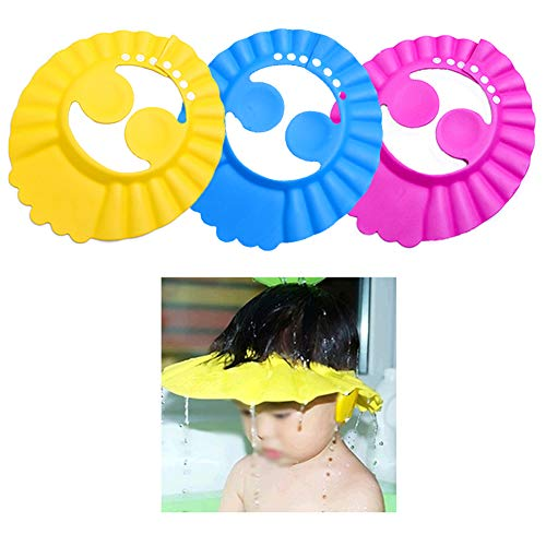 Baby Shower Shampoo Bath Protection Cap Waterproof Ear Protection Eye Protection 3 Pieces- Soft Cap Adjustable Bathroom Sun Visor Suitable for 0-3-10 Years Old
