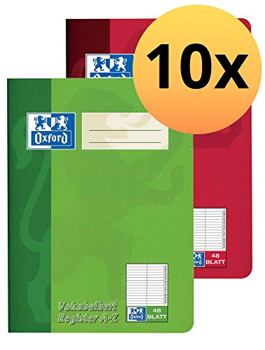 Oxford 100302812 Vokabelheft A-Z mit 2 Spalten und Register als 10er Pack im Format A5 mit 48 Blatt