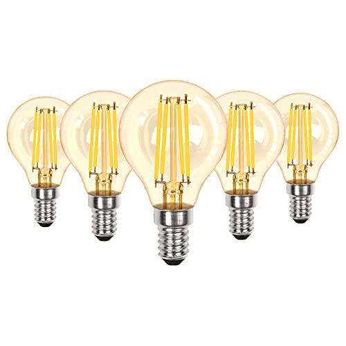 Doright 5 pezzi E14 Lampadine LED Dimmerabili 4W P45 Golf Filamento Classico a Lume di Ambra Bianco Caldo 2700k Lampadario SES Equivalente a una Lampadina Alogena da 40W, 330lm, Risparmio Energetico