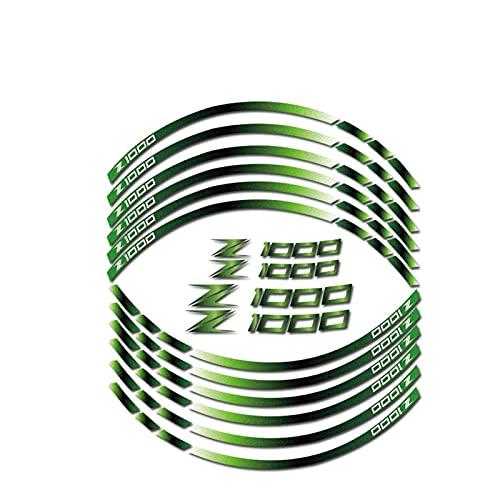 Protector de calcomanías decorativas para Kawasaki Z1000 Z 1000 ruedas motocicletas Edge Etiqueta exterior Ribra de rotación reflectante Calcomanías de ruedas (Color : Green)