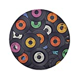 OTVEE Colorful Vinyl Records Music Placemats Set of 4, Washable Round Place Mat for Dining Table Kitchen Decor