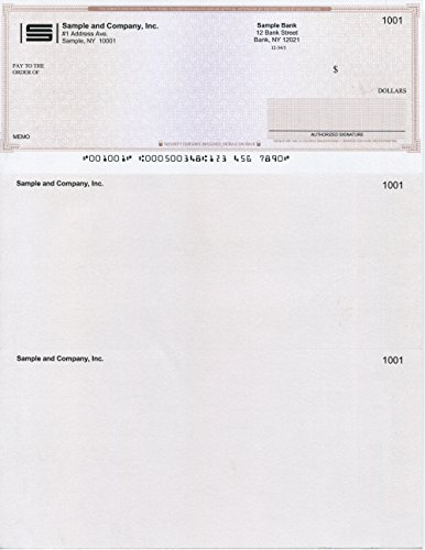 """Computer Checks""""Ultimate Security"""" 100 Printed Laser Computer Voucher Checks - Compatible for QuickBooks - Brown Maze"""