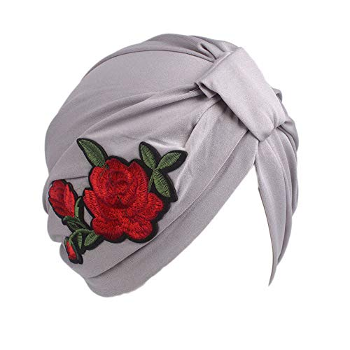 BGROESTWB Turbante para Mujeres Rosa Bordado de enfundado Polyester Cap Cap Informal Capucha Hood Impreso Damas Gorra de Envoltura de Cabeza de Gorro (Color : Gray)