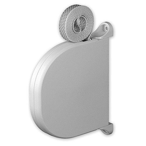Mini-Aufputz-Gurtwickler 'Tondo', Farbe: weiß, inkl. Gurt: 15 mm x 5 m Länge, Gurtfarbe: grau, Lochabstand: 140 mm, 180 Grad schwenkbar, von EVEROXX