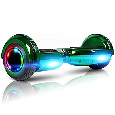 """LIEAGLE 6.5"""" Hoverboard Self Balancing Scooter Hover Board for Kids Adults with UL2272 Certified Wheels LED Lights and Free Carry Bag(Chrome Green)"""