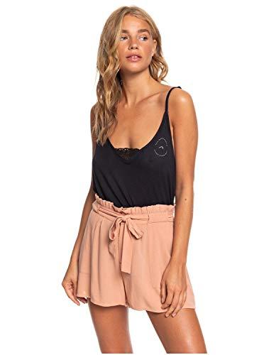 Roxy - Short de Talle Alto con Aspecto de Bolsa de Papel - Mujer - XL - Beige