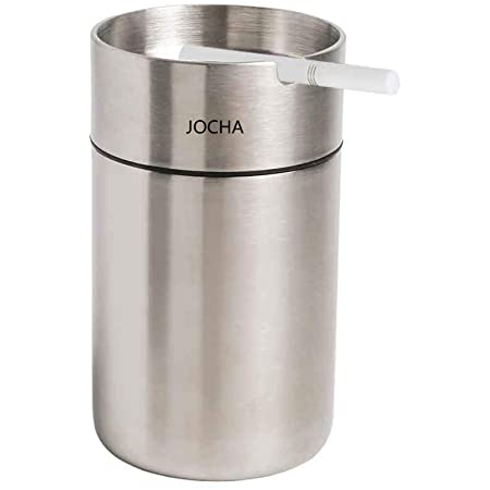 JOCHA Car Ashtray with lid smell proof Stainless Steel Portable Smokeless Detachable Windproof Self Extinguishing Butt Bucket Ash Tray for Most Car Cup Holder for Outdoor Travel Home Office (Silver)