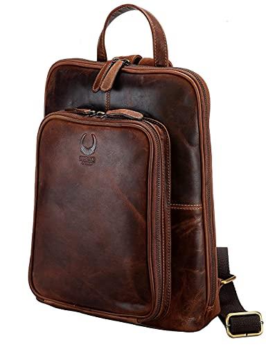 Corno d´Oro Sac à dos pour femmes, Sac de Loisirs vintage BP817, Backpack en cuir véritable marron pour ordinateur portable 14 pouces