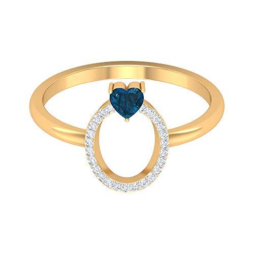 Anillo tóbico inicial de diamante de 1/4 quilates con topacio azul londinense talla corazón, 14K Oro amarillo, Size:EU 54