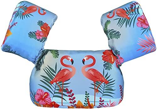 Chaleco de natación para niños con alas de brazo adecuado para niños de 10 a 26 kg (Flaminigo)