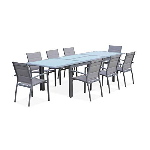 Salon de Jardin Table Extensible - Philadelphie Gris Clair - Table en Aluminium 200/300cm, Plateau de Verre, rallonge et 8 fauteuils en textilène