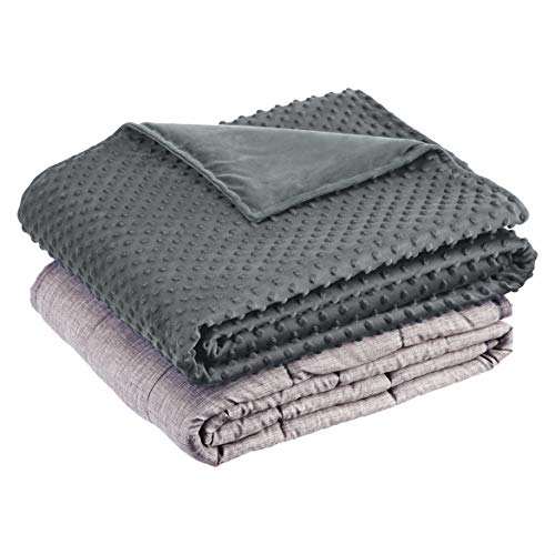 BLANQUIL QUILTED WEIGHTED BLANKET W// REMOVABLE COVER Grey