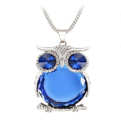 KAIKUN Jewelry Owl Crystal Animal Long Sweater Pendant Necklace Personalised Necklace Hypoallergenic Necklace Birthday Gifts for Her Sister Necklace Blue