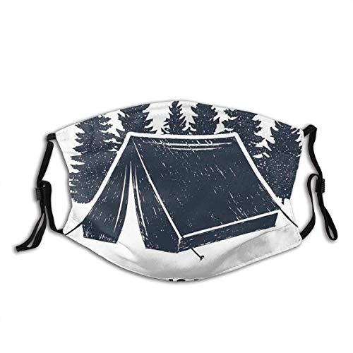 Home Is Where The Tent Is Lettering With Pine Trees Camping Travel Theme Dust Washable Reusable Filter And Reusable Mouth Warm Windproof Cotton Face