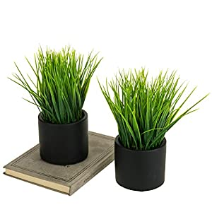 MyGift Tabletop Artificial Green Grass Plants in Modern Round Black Cement Pots, Set of 2