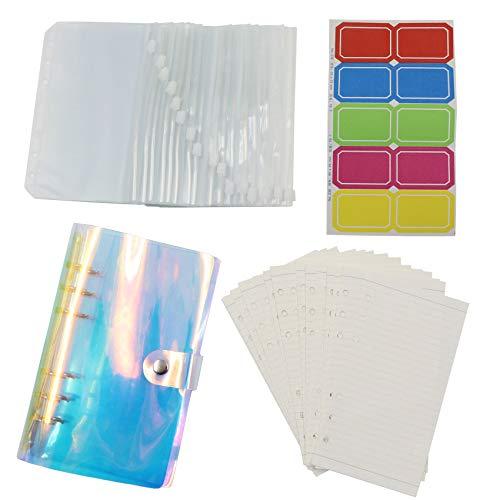 Cubierta de PVC suave con cierre de botón de presión, 16 bolsillos y 45 hojas sueltas de papel A5 para cuadernos, impermeable, hojas sueltas, dinero en efectivo, sistema de sobres