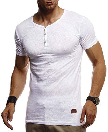 Leif Nelson Herren Sommer T-Shirt Rundhals Ausschnitt Slim Fit Baumwolle-Anteil Cooles Basic Männer T-Shirt Crew Neck Jungen Kurzarmshirt O-Neck Sweatshirt Kurzarm Lang LN8280 Weiß X-Large