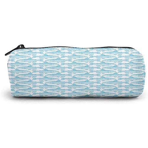 RGFDFi Organizer Pencil Case; Fisch, Ichthyologe Skizze eines Saiblings in Linien Einfarbiges Design auf Weiß, Seafoam