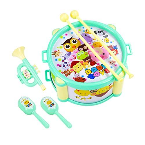 Toyvian 6pcs Enfants Tambour Jouet Instruments de Musique Jouet pour bébé Enfant Enfant (Vert)