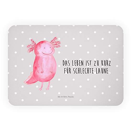 Mr. & Mrs. Panda Kühlschrankmagnete, Kalendermagnet, Magnet Axolotl glücklich mit Spruch - Farbe Grau Pastell