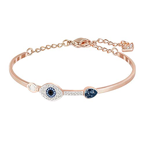 Swarovski Women's Symbolic Evil Eye Bangle Bracelet, Brilliant White and Blue Crystals with Mixed Metal Finish, from the Swarovski Symbolic Collection