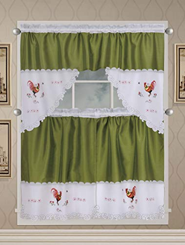Café Curtains for Kitchen, Bathroom Curtains with Valance and Embroidery (Rooster on Green)