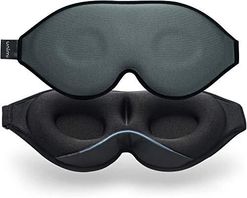 2021 Verbesserte Schlafmaske und Augenmaske für Frauen und Männer, weiche Augenmaske aus 3D konturiertem Soft Material, 100% Lichtblockierende Schlafbrille für Reisen, Nickerchen-Grau