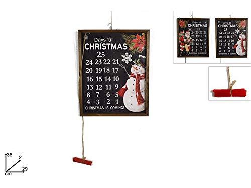 Vetrineinrete® Calendario dell'avvento in legno lavagnetta con gessetto e cassino conuntdown per natale decorazioni natalizie per la casa con gancio 36x29 cm 2275 E3