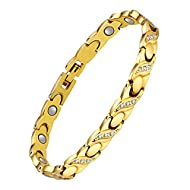 Jeracol Titanium Steel Magnetic Bracelet,Golden Titanium Steel Bracelets with Crystals for Women,Adj...