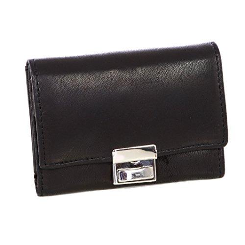 Echt-Leder Opabörse mit großer Kleingeldschütte Geldbörse Portemonnaie Brieftasche Portmonee Geldbeutel AM-1433 Schwarz
